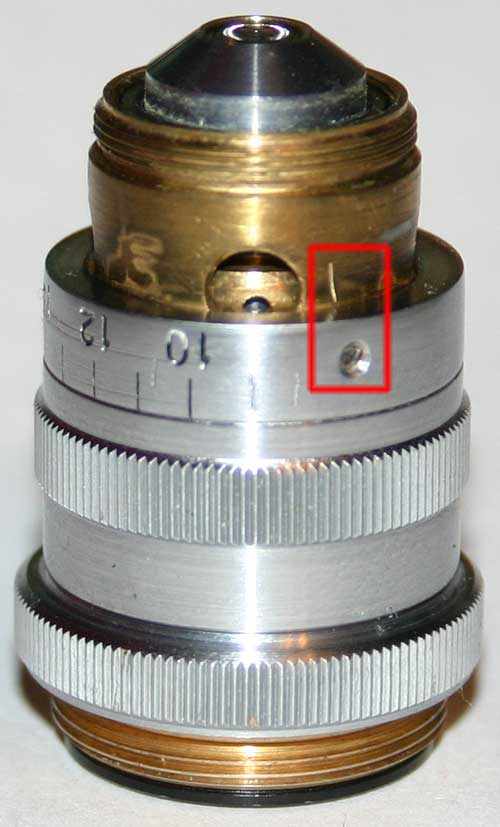 Repair of LOMO APO 40x0.95 microscope objective, put correction ring back