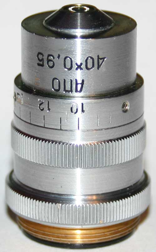 Repair of LOMO APO 40x0.95 microscope objective, put front cover back